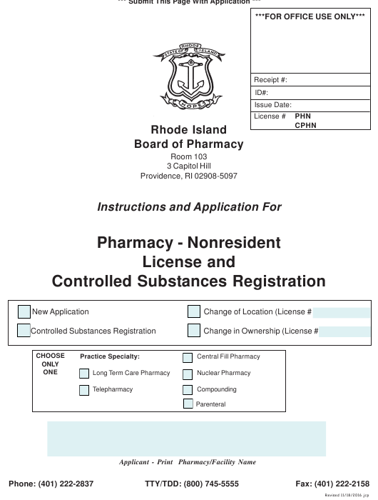 """""""Application for Pharmacy - Nonresident License and Controlled Substances Registration"""" - Rhode Island Download Pdf"""
