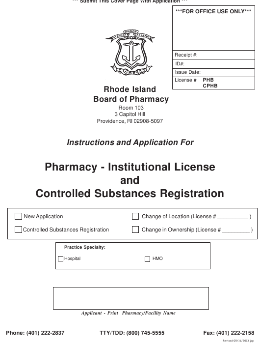 """""""Application for Pharmacy - Institutional License and Controlled Substances Registration"""" - Rhode Island Download Pdf"""