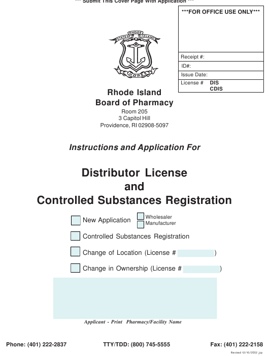 """Application for Distributor License and Controlled Substances Registration"" - Rhode Island Download Pdf"