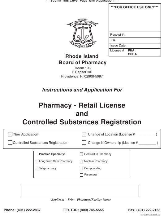"""""""Application for Pharmacy - Retail License and Controlled Substances Registration"""" - Rhode Island Download Pdf"""