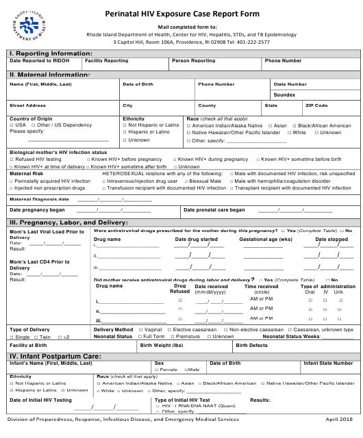 """Perinatal Hiv Exposure Case Report Form"" - Rhode Island Download Pdf"