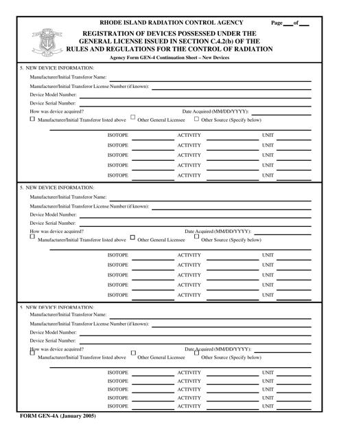 Form GEN-4A  Printable Pdf