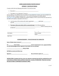 """Affidavit for Tax Situs"" - Rhode Island"