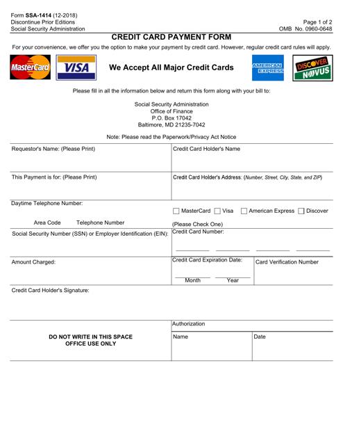 Form SSA-1414  Printable Pdf