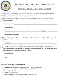 """""""Privacy Policy Request Form"""" - Rhode Island"""