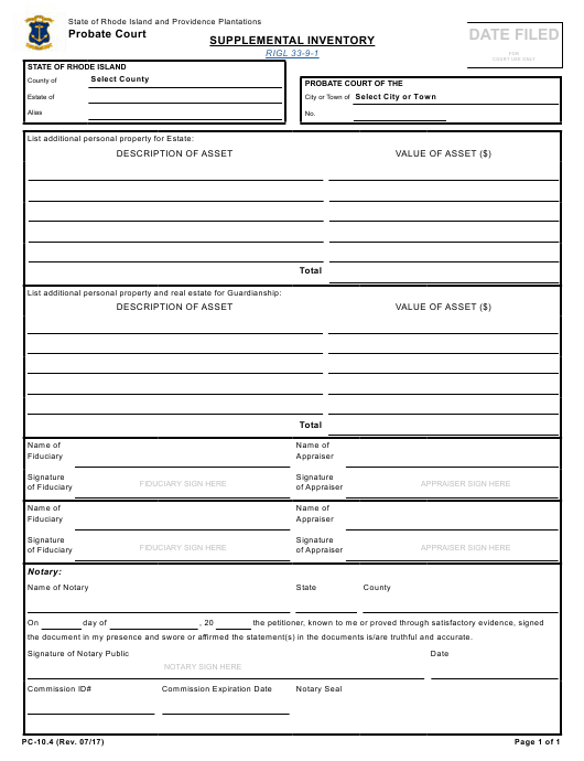Form PC-10.4 Fillable Pdf