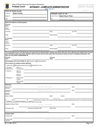 "Form PC-7.3 ""Affidavit - Complete Administration"" - Rhode Island"