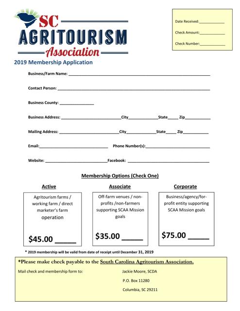 """Membership Application Form"" - South Carolina Download Pdf"