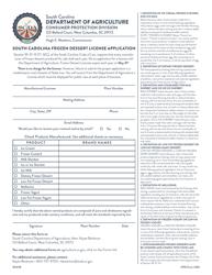"CPD Form 203 ""South Carolina Frozen Dessert License Application"" - South Carolina"