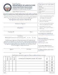 "CPD Form 535 ""South Carolina Feed Registration Application"" - South Carolina"