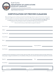 "CPD Form 102.2 ""Certification of Prover Cleaning"" - South Carolina"