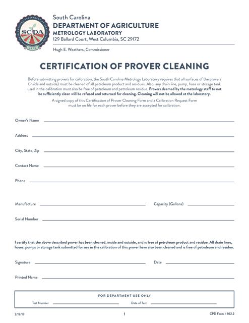 CPD Form 102.2  Printable Pdf