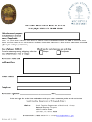"""""""National Register of Historic Places Plaque/Certificate Order Form"""" - South Carolina"""