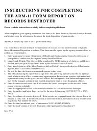 "Instructions for Form ARM-11 ""Report on Records Destroyed"" - South Carolina"