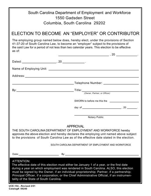 Form UCE-154 Printable Pdf