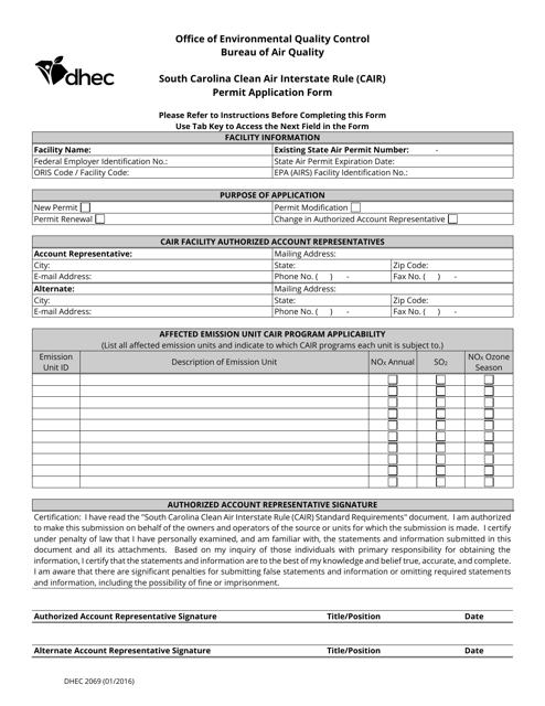 DHEC Form 2069  Printable Pdf