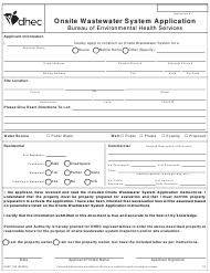 "DHEC Form 1740 ""Onsite Wastewater System Application"" - South Carolina"