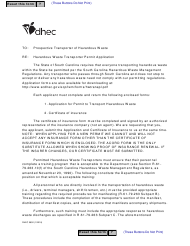 "DHEC Form 0852 ""Application for Permit to Transport Hazardous Waste"" - South Carolina"