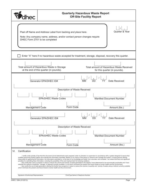 DHEC Form 1964 Printable Pdf