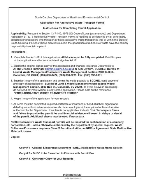 DHEC Form 0800 Printable Pdf