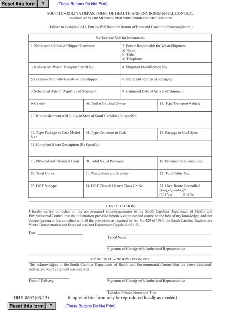 DHEC Form 0802  Printable Pdf