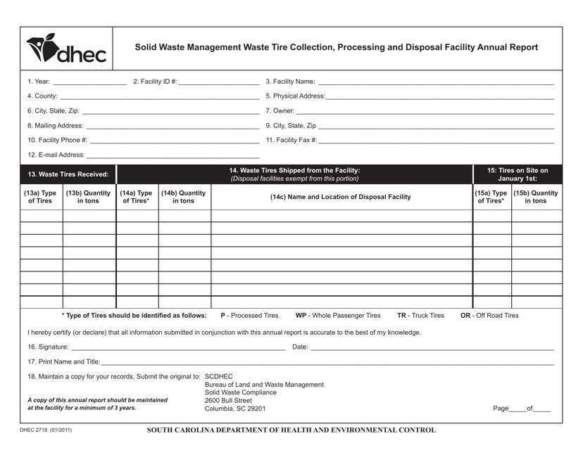 DHEC Form 2718 Printable Pdf