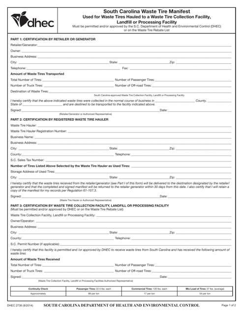 DHEC Form 2738  Printable Pdf