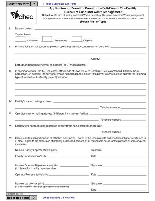 DHEC Form 3571 Printable Pdf