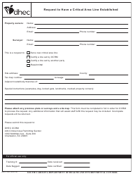 "DHEC Form 3902 ""Request to Have a Critical Area Line Established"" - South Carolina"