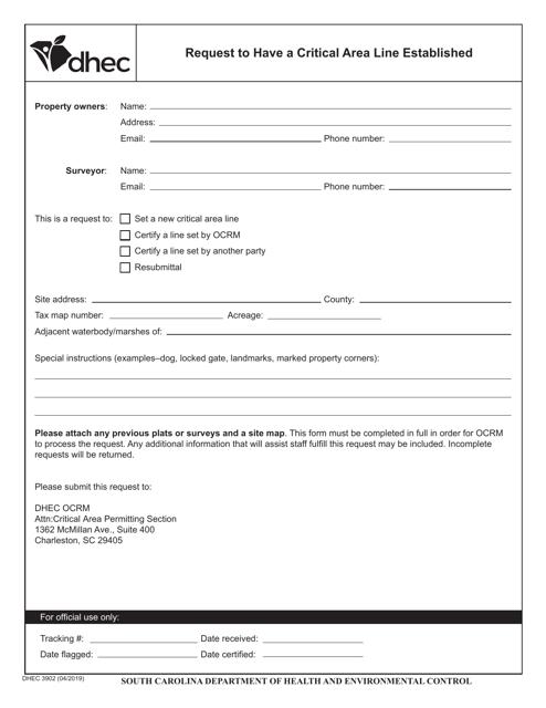 DHEC Form 3902  Printable Pdf
