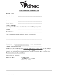 "DHEC Form 3899 ""Maintenance and Repair Request"" - South Carolina"