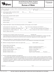 "DHEC Form 1206 ""Small Business Water System Construction Permit Application"" - South Carolina"
