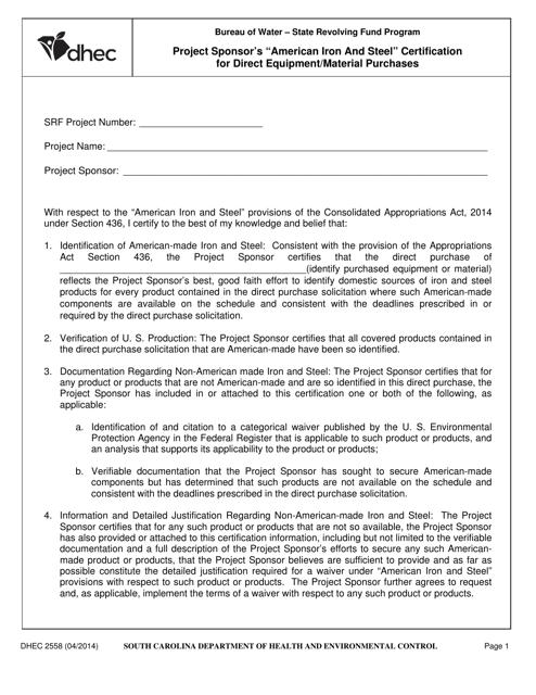 DHEC Form 2558  Printable Pdf