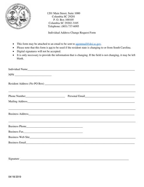 """Individual Address Change Request Form"" - South Carolina Download Pdf"