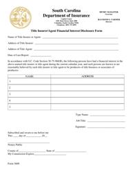 """SCID Form 3600 """"Title Insurer/Agent Financial Interest Disclosure Form"""" - South Carolina"""