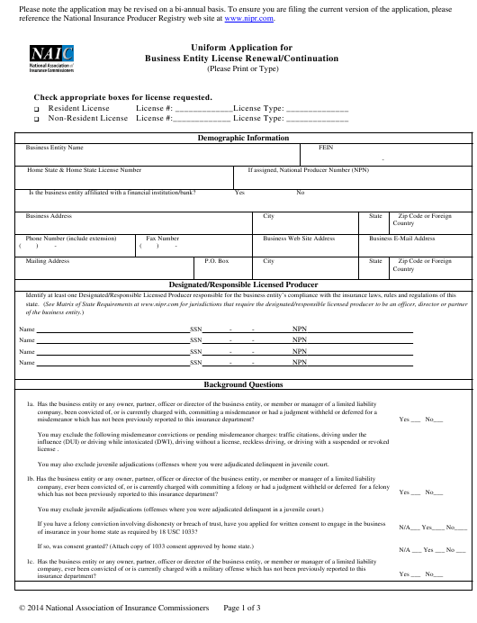 """""""Uniform Application for Business Entity License Renewal/Continuation"""" Download Pdf"""