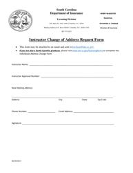 """Instructor Change of Address Request Form"" - South Carolina"