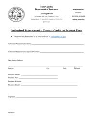 """Authorized Representative Change of Address Request Form"" - South Carolina"