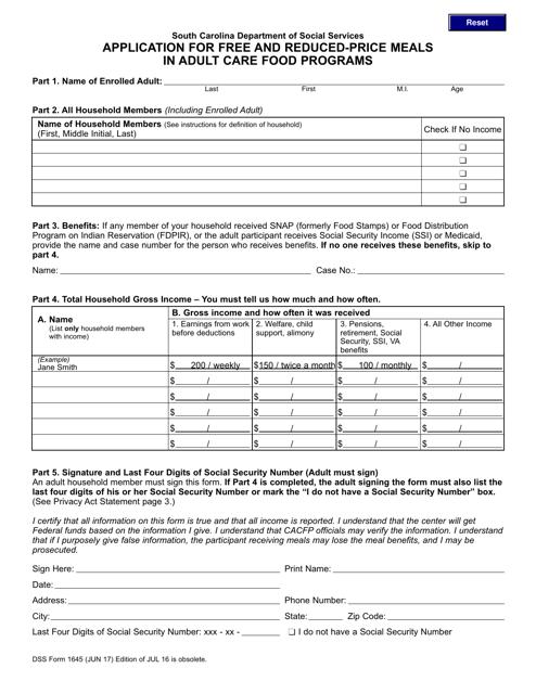 DSS Form 1645  Printable Pdf