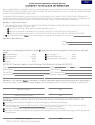 """DSS Form 3072 """"Consent to Release Information"""" - South Carolina"""
