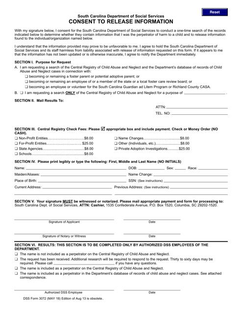 DSS Form 3072  Printable Pdf