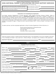"DSS Form 27103 ""Non-custodial Parent's Application for Child Support Services"" - South Carolina"