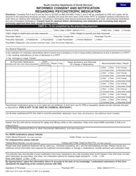 "DSS Form 1214 ""Informed Consent and Notification Regarding Psychotropic Medication"" - South Carolina"