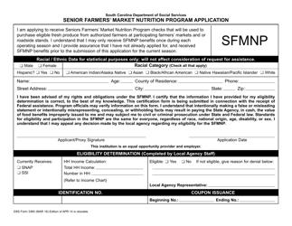 """DSS Form 3360 """"Senior Farmers' Market Nutrition Program Application"""" - South Carolina"""