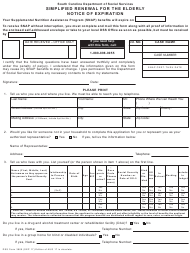 """DSS Form 3809 """"Simplified Renewal for the Elderly - Notice of Expiration"""" - South Carolina"""