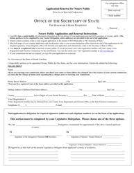 """Application/Renewal for Notary Public"" - South Carolina"