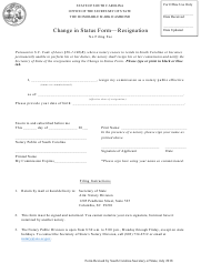 """Change in Status Form - Resignation"" - South Carolina"