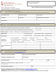 """Form OSF1 """"Out-Of-State University Sign-Off Form"""" - South Dakota"""