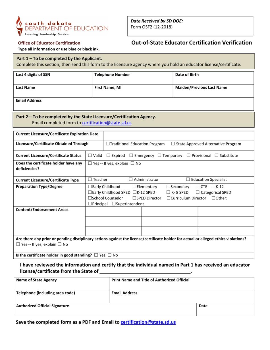 form verification certification state educator templateroller dakota template