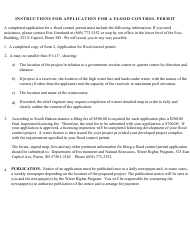 """Form 2 (SD Form 0431LD) """"Application for Flood Control Permit Within the State of South Dakota"""" - South Dakota"""